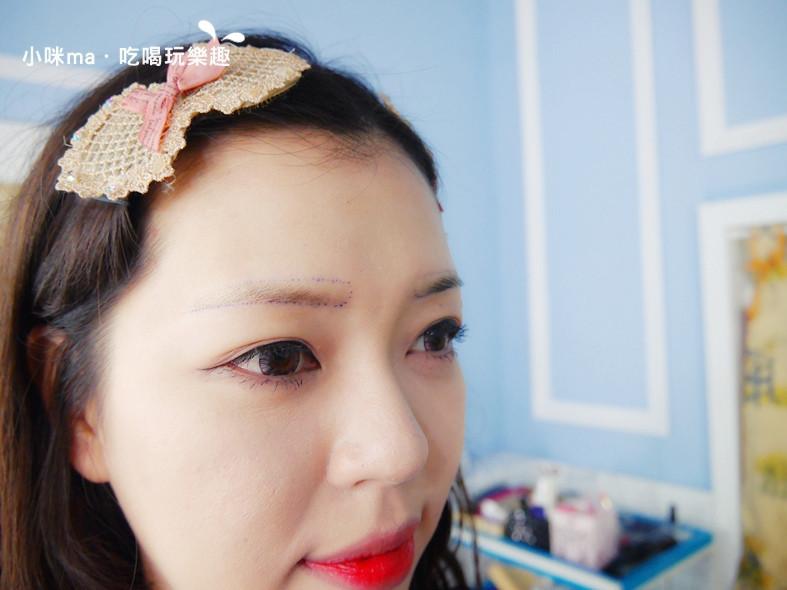 幻羽毛漸層羽霧眉紋繡作品分享-點出眉框卸除彩妝